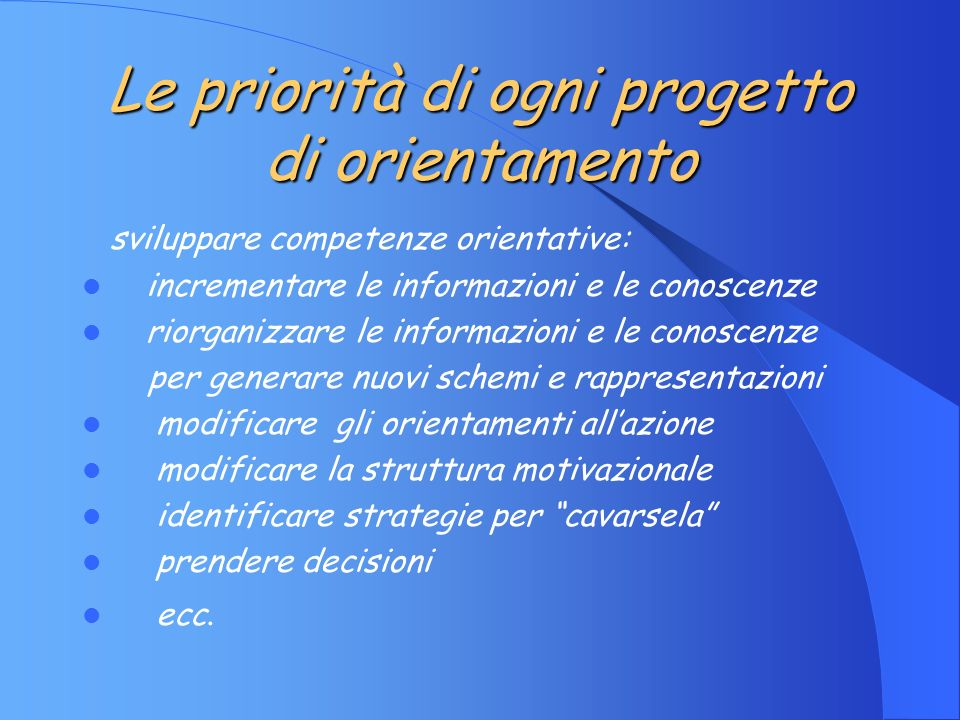 Processi implicati negli interventi di accompagnamento Ricostruzione Allargamento Strategie di coping