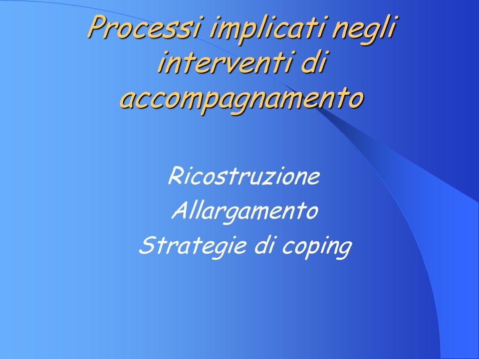 Processi implicati negli interventi di accompagnamento Ricostruzione Allargamento Strategie di coping