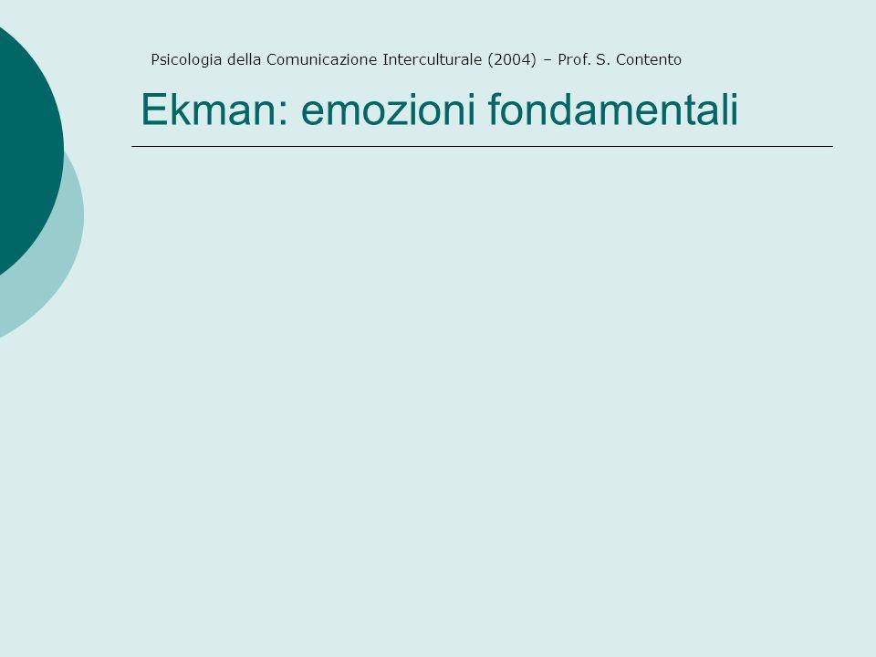 Ekman: emozioni fondamentali Psicologia della Comunicazione Interculturale (2004) – Prof.