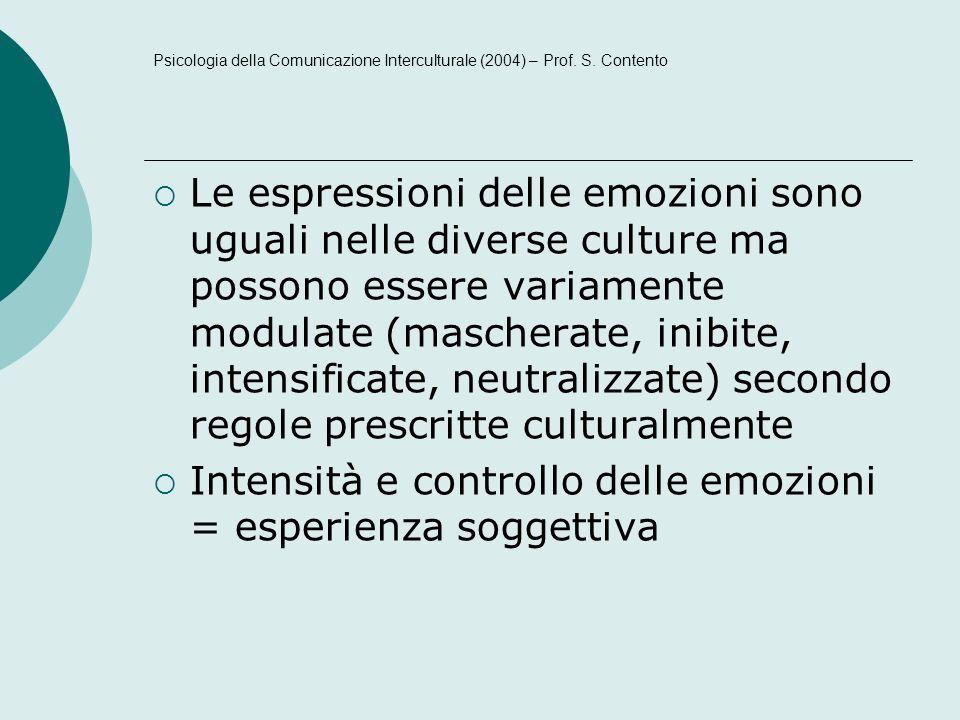 Le espressioni delle emozioni sono uguali nelle diverse culture ma possono essere variamente modulate (mascherate, inibite, intensificate, neutralizzate) secondo regole prescritte culturalmente Intensità e controllo delle emozioni = esperienza soggettiva