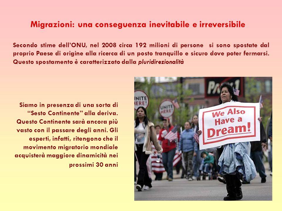 Migrazioni: una conseguenza inevitabile e irreversibile Secondo stime dellONU, nel 2008 circa 192 milioni di persone si sono spostate dal proprio Paese di origine alla ricerca di un posto tranquillo e sicuro dove poter fermarsi.