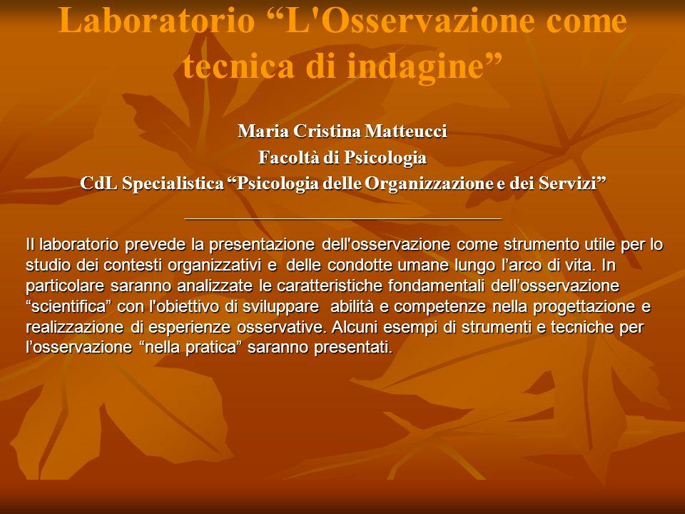 Laboratorio L'Osservazione come tecnica di indagine Maria Cristina Matteucci Facoltà di Psicologia CdL Specialistica Psicologia delle Organizzazione e