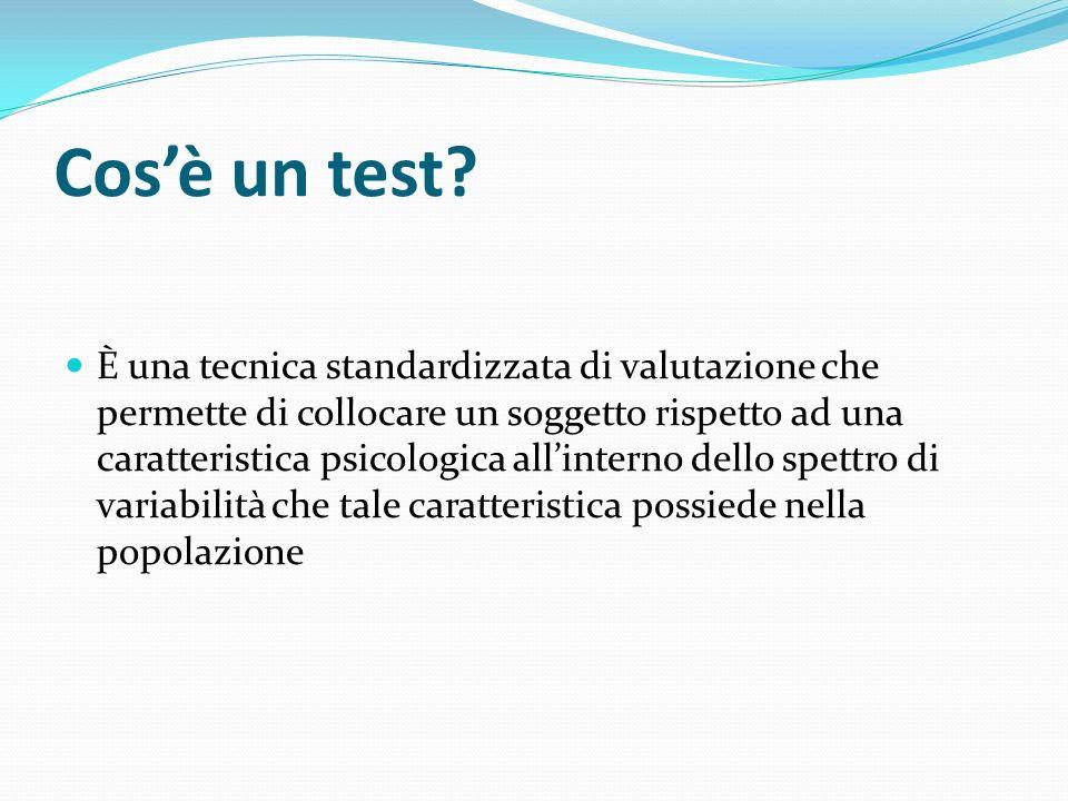 Cosè un test? È una tecnica standardizzata di valutazione che permette di collocare un soggetto rispetto ad una caratteristica psicologica allinterno