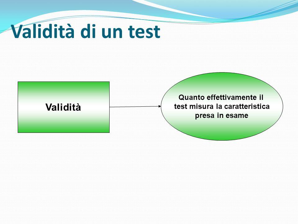 Validità di un test Validità Quanto effettivamente il test misura la caratteristica presa in esame