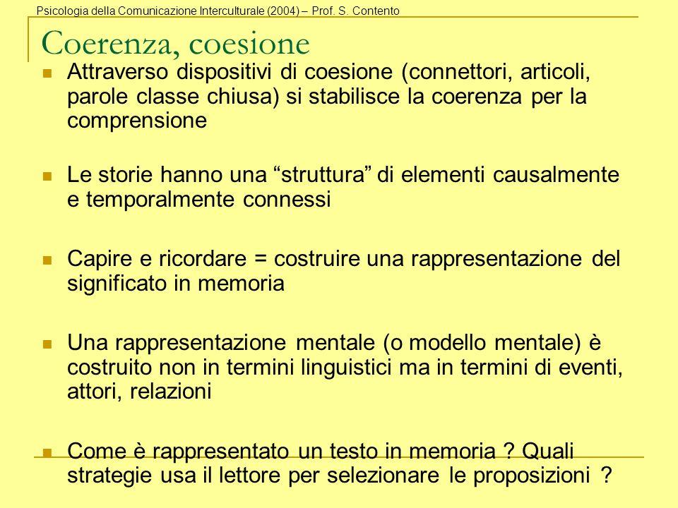 Coerenza, coesione Attraverso dispositivi di coesione (connettori, articoli, parole classe chiusa) si stabilisce la coerenza per la comprensione Le st