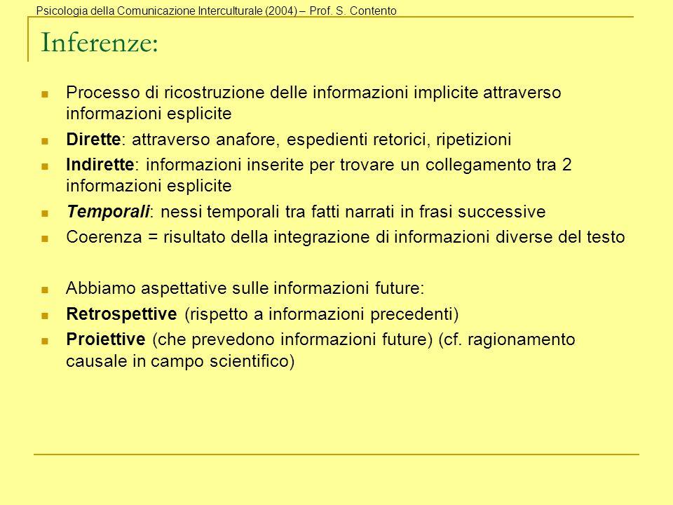 Inferenze: Processo di ricostruzione delle informazioni implicite attraverso informazioni esplicite Dirette: attraverso anafore, espedienti retorici,