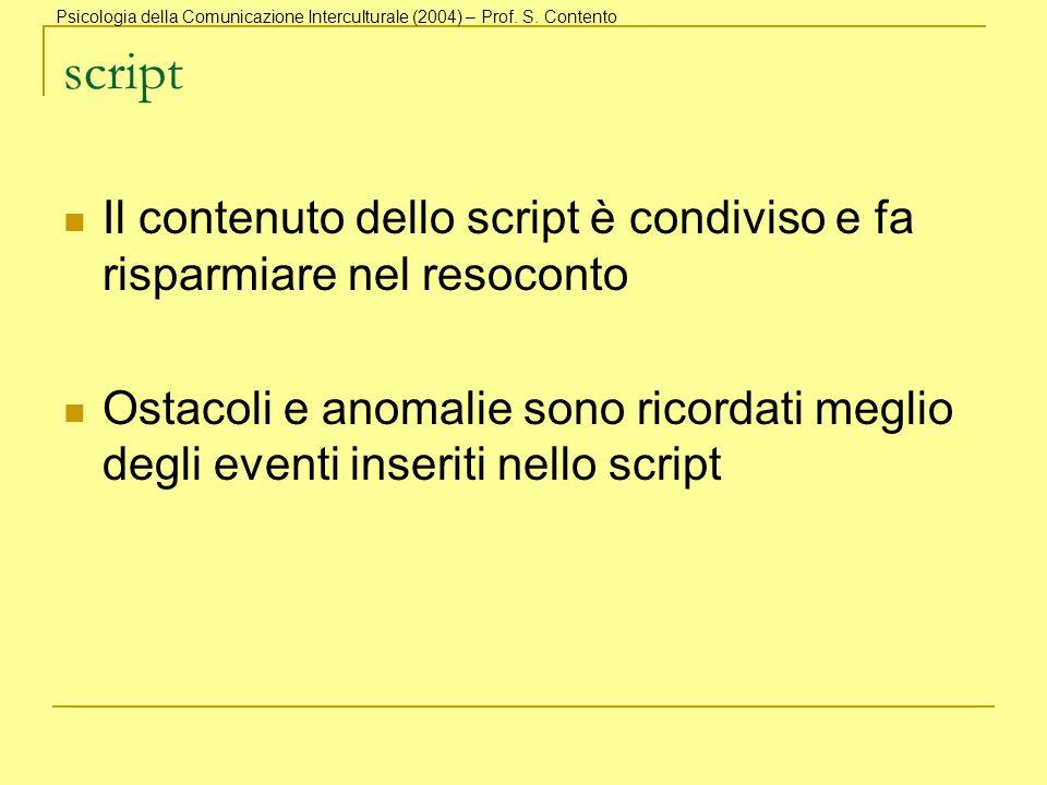 script Il contenuto dello script è condiviso e fa risparmiare nel resoconto Ostacoli e anomalie sono ricordati meglio degli eventi inseriti nello scri