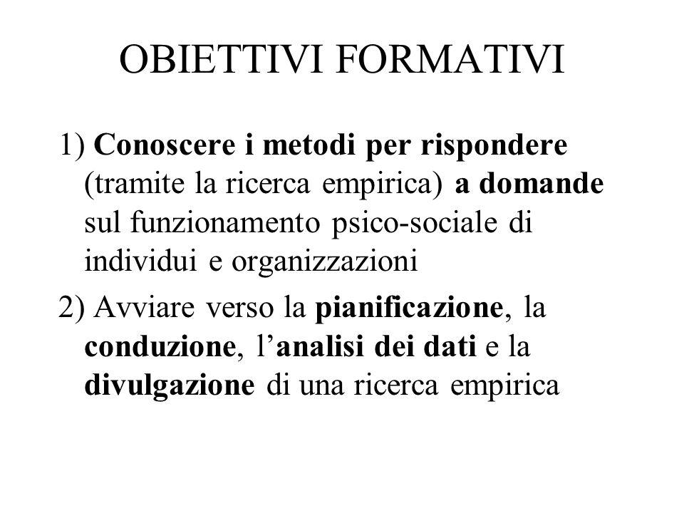 OBIETTIVI FORMATIVI 1) Conoscere i metodi per rispondere (tramite la ricerca empirica) a domande sul funzionamento psico-sociale di individui e organi