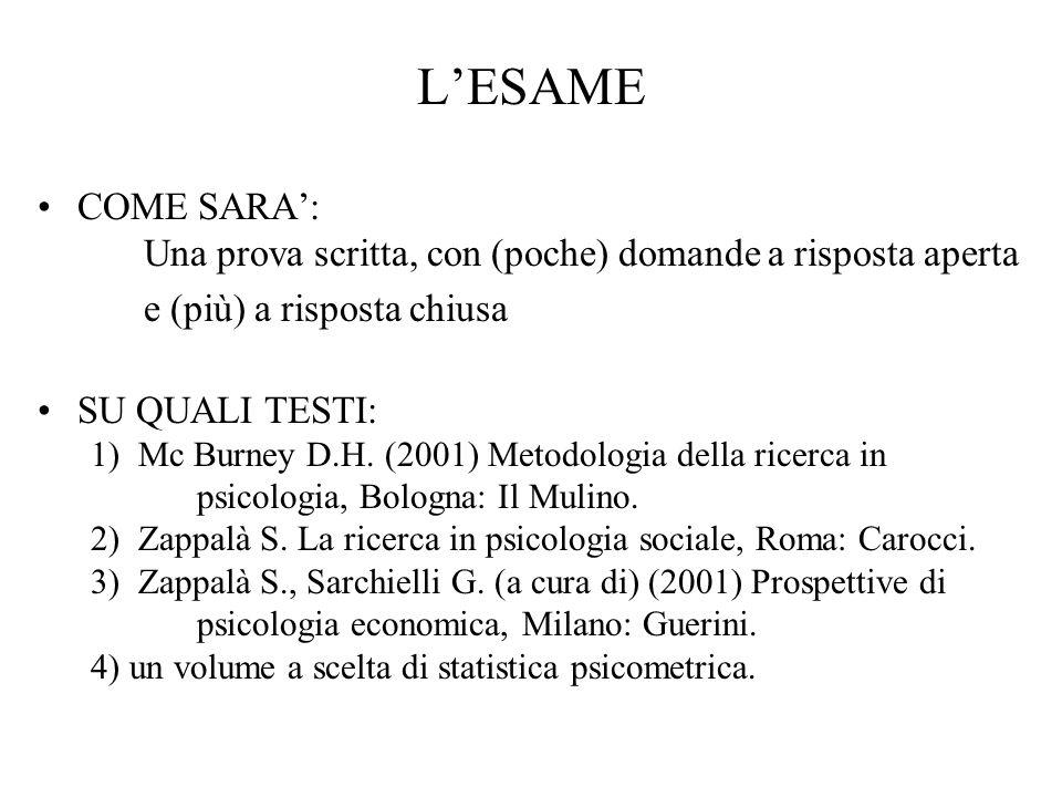 LESAME COME SARA: Una prova scritta, con (poche) domande a risposta aperta e (più) a risposta chiusa SU QUALI TESTI: 1) Mc Burney D.H. (2001) Metodolo