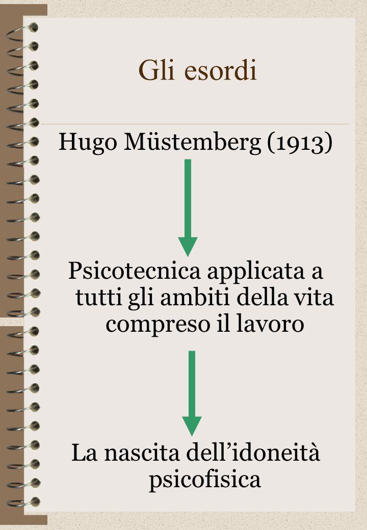 Gli esordi Hugo Müstemberg (1913) Psicotecnica applicata a tutti gli ambiti della vita compreso il lavoro La nascita dellidoneità psicofisica