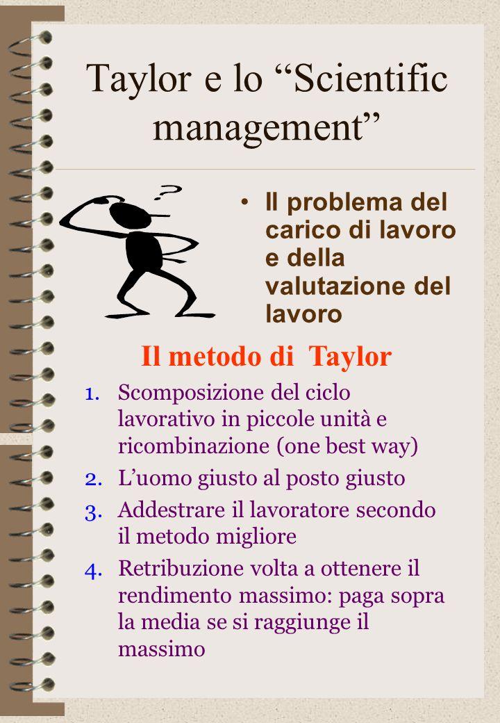 Taylor e lo Scientific management Il problema del carico di lavoro e della valutazione del lavoro Il metodo di Taylor 1.Scomposizione del ciclo lavora