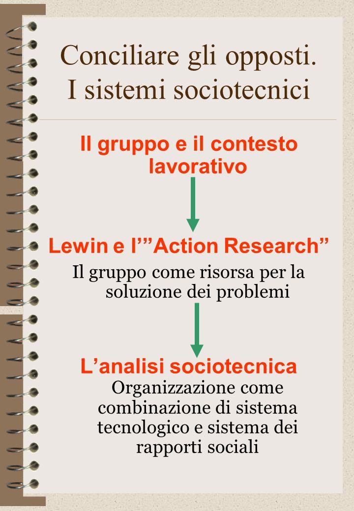 Conciliare gli opposti. I sistemi sociotecnici Il gruppo e il contesto lavorativo Lewin e lAction Research Il gruppo come risorsa per la soluzione dei