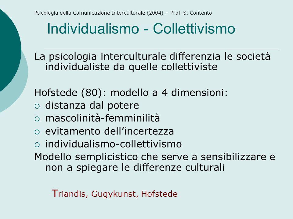 Individualismo - Collettivismo La psicologia interculturale differenzia le società individualiste da quelle collettiviste Hofstede (80): modello a 4 d