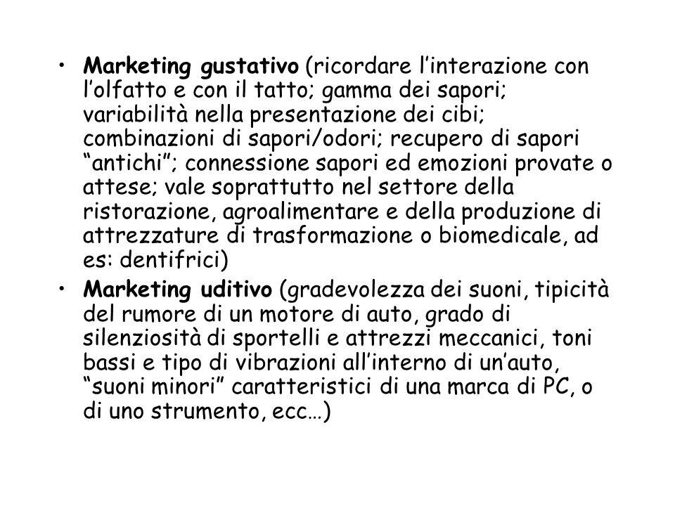 Marketing gustativo (ricordare linterazione con lolfatto e con il tatto; gamma dei sapori; variabilità nella presentazione dei cibi; combinazioni di s