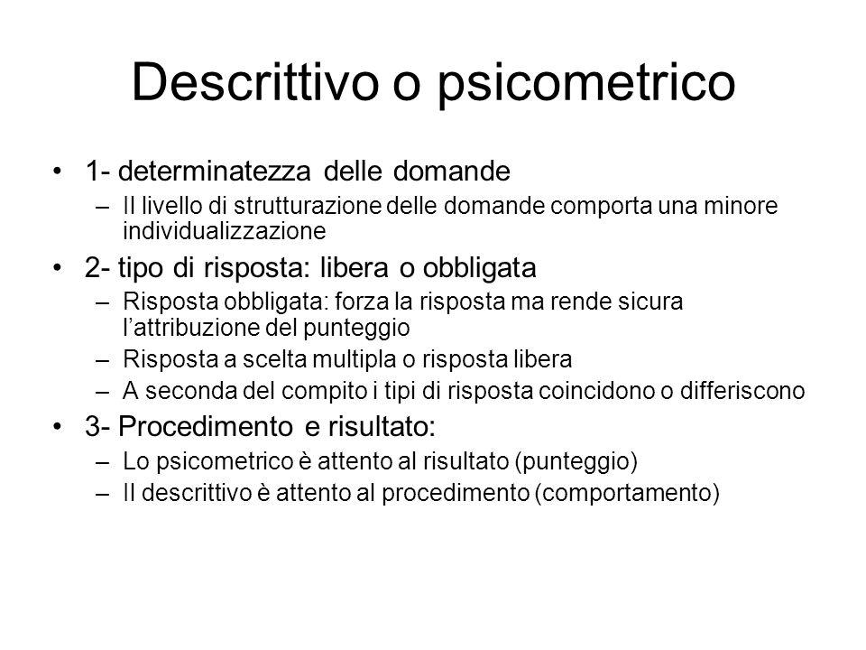 Descrittivo o psicometrico 1- determinatezza delle domande –Il livello di strutturazione delle domande comporta una minore individualizzazione 2- tipo