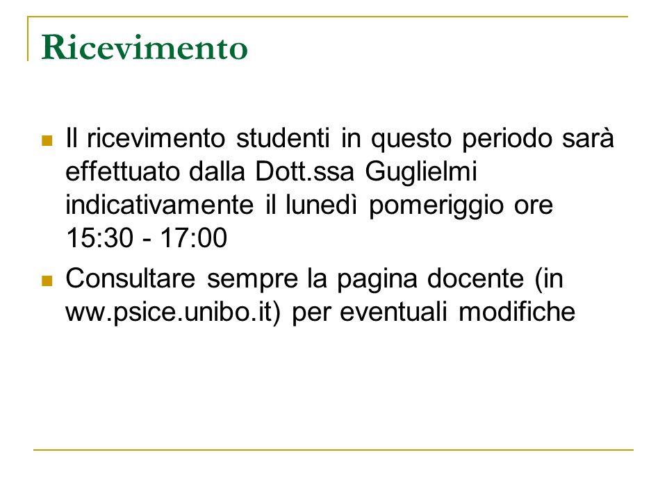 Ricevimento Il ricevimento studenti in questo periodo sarà effettuato dalla Dott.ssa Guglielmi indicativamente il lunedì pomeriggio ore 15:30 - 17:00