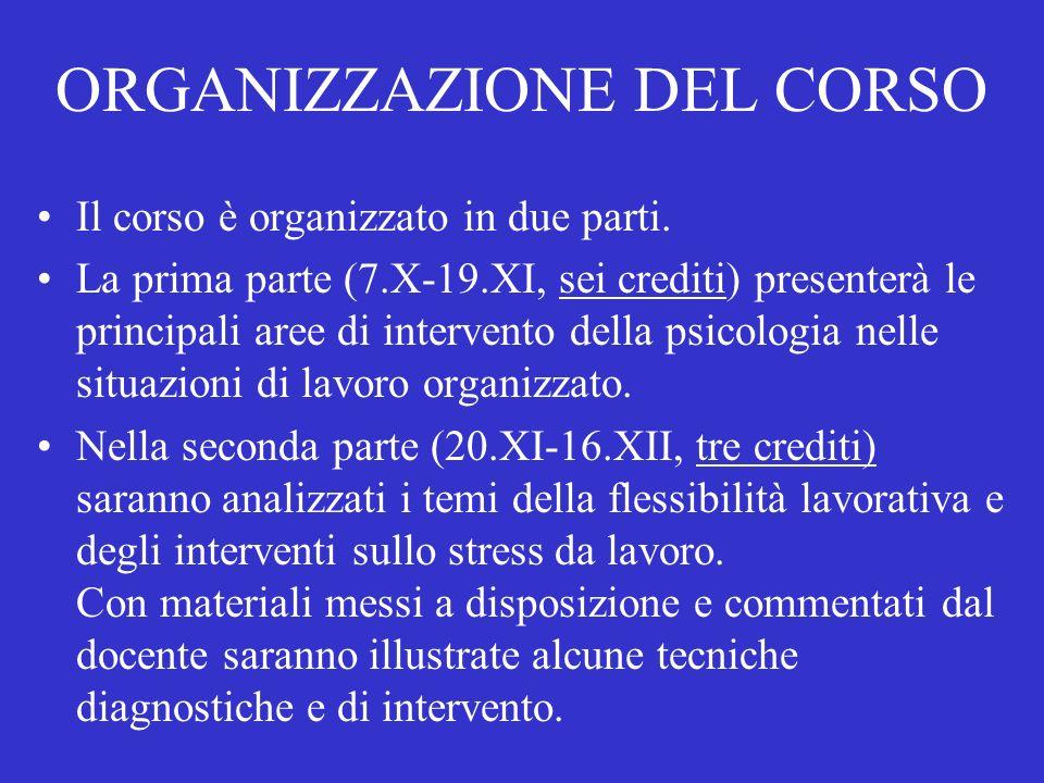 ORGANIZZAZIONE DEL CORSO Il corso è organizzato in due parti.