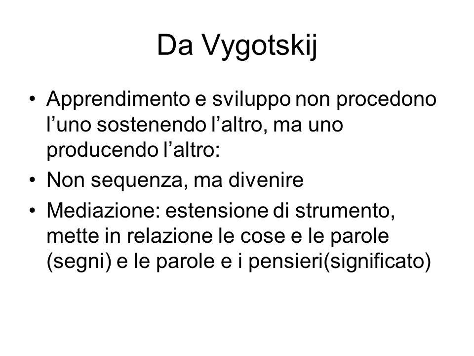 Da Vygotskij Apprendimento e sviluppo non procedono luno sostenendo laltro, ma uno producendo laltro: Non sequenza, ma divenire Mediazione: estensione