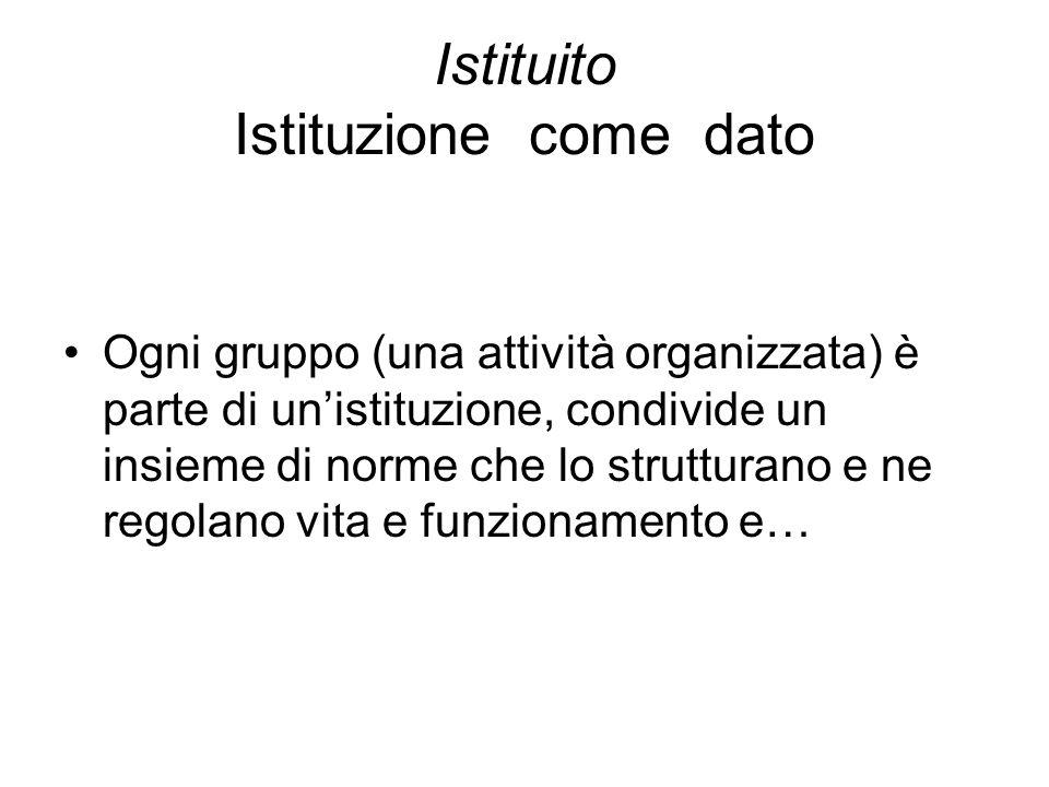Istituito Istituzione come dato Ogni gruppo (una attività organizzata) è parte di unistituzione, condivide un insieme di norme che lo strutturano e ne