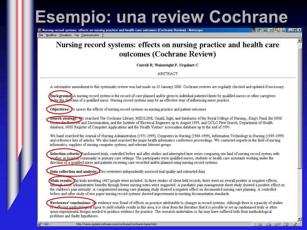Esempio: una review Cochrane