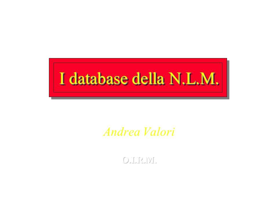 I database della N.L.M. Andrea Valori