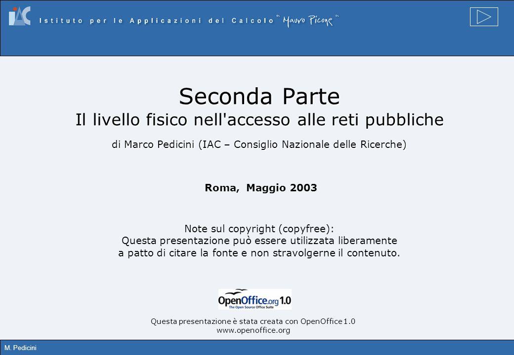 M. Pedicini Seconda Parte Il livello fisico nell'accesso alle reti pubbliche di Marco Pedicini (IAC – Consiglio Nazionale delle Ricerche) Roma, Maggio