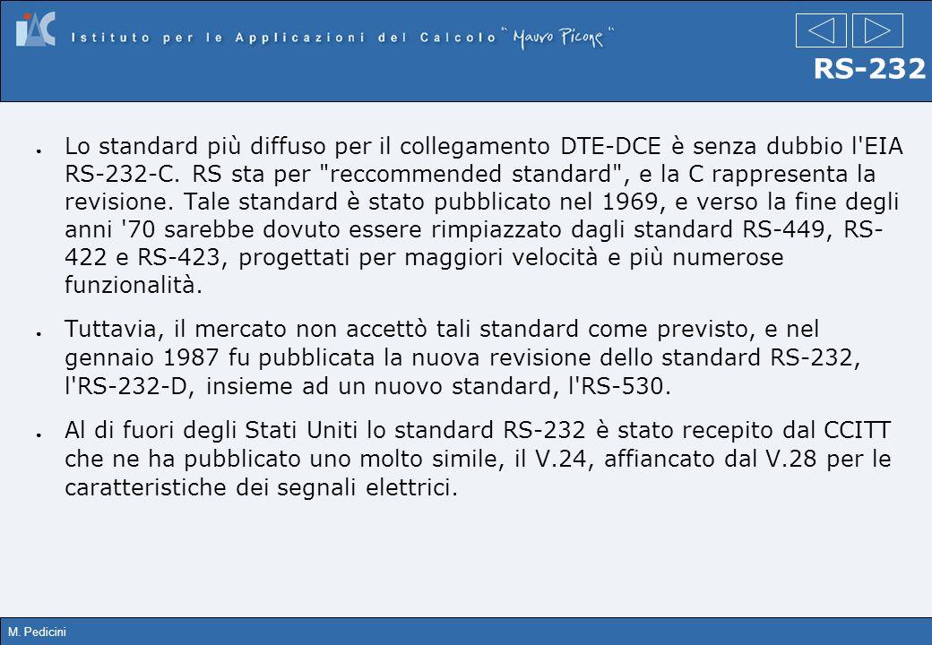 M. Pedicini RS-232 Lo standard più diffuso per il collegamento DTE-DCE è senza dubbio l'EIA RS-232-C. RS sta per