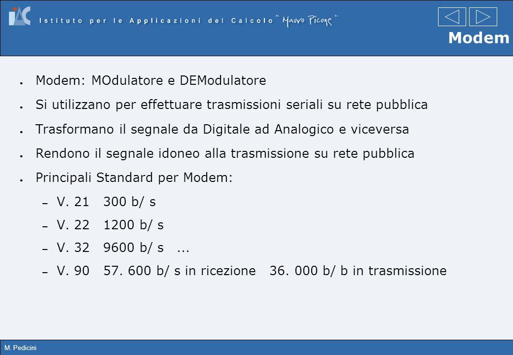 M. Pedicini Modem Modem: MOdulatore e DEModulatore Si utilizzano per effettuare trasmissioni seriali su rete pubblica Trasformano il segnale da Digita