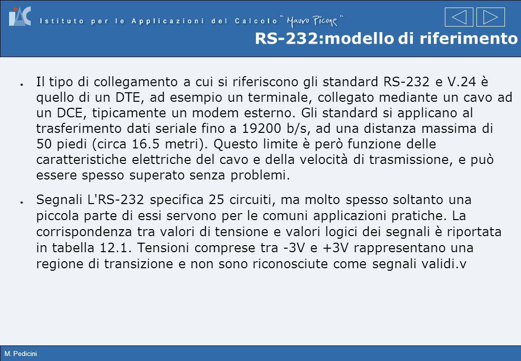 M. Pedicini RS-232:modello di riferimento Il tipo di collegamento a cui si riferiscono gli standard RS-232 e V.24 è quello di un DTE, ad esempio un te