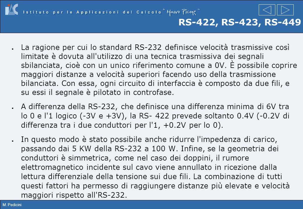M. Pedicini RS-422, RS-423, RS-449 La ragione per cui lo standard RS-232 definisce velocità trasmissive così limitate è dovuta all'utilizzo di una tec