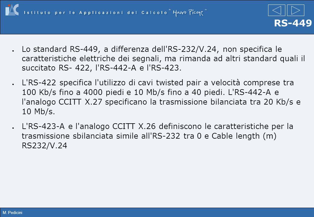 M. Pedicini RS-449 Lo standard RS-449, a differenza dell'RS-232/V.24, non specifica le caratteristiche elettriche dei segnali, ma rimanda ad altri sta