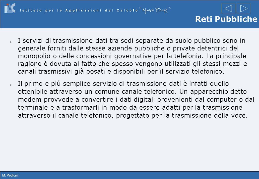 M. Pedicini Reti Pubbliche I servizi di trasmissione dati tra sedi separate da suolo pubblico sono in generale forniti dalle stesse aziende pubbliche