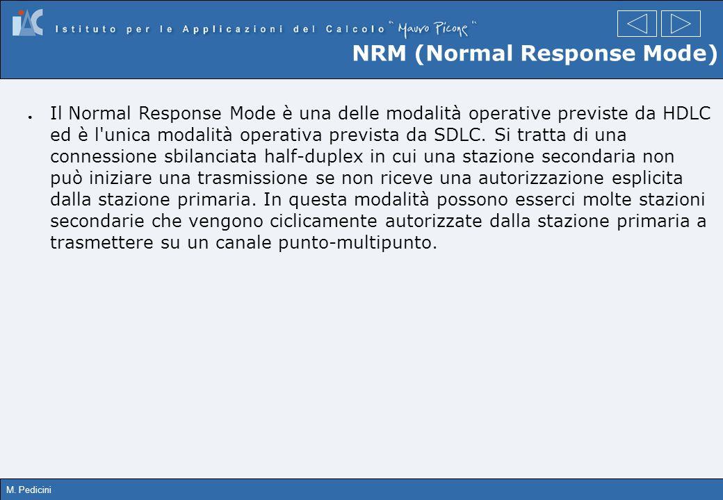 M. Pedicini NRM (Normal Response Mode) Il Normal Response Mode è una delle modalità operative previste da HDLC ed è l'unica modalità operativa previst