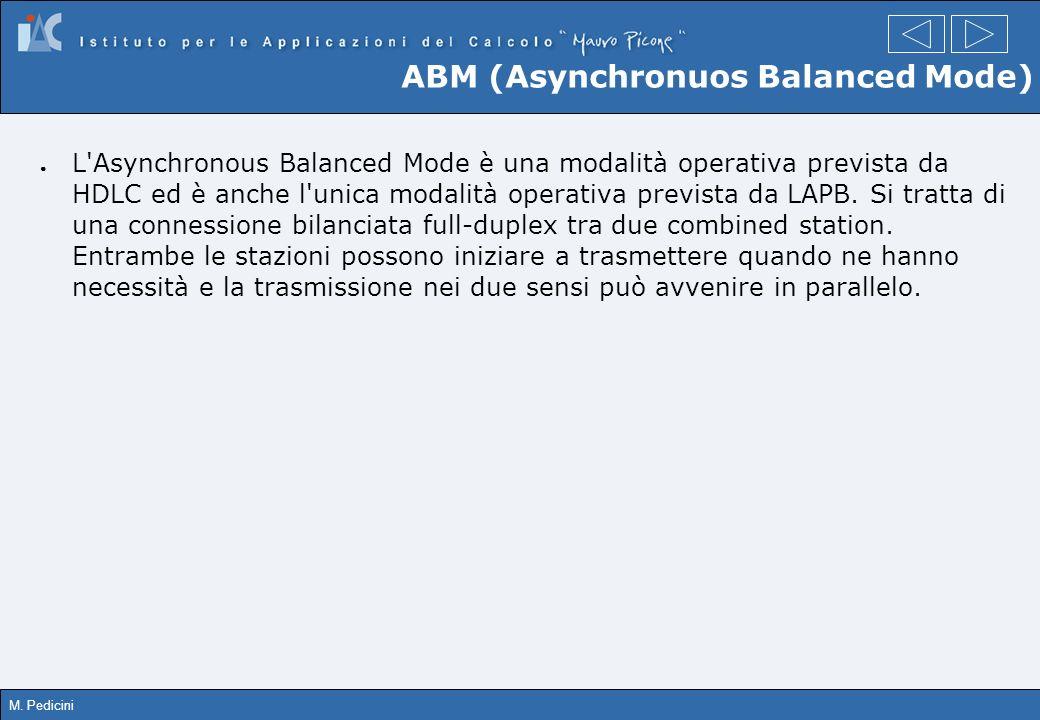 M. Pedicini ABM (Asynchronuos Balanced Mode) L'Asynchronous Balanced Mode è una modalità operativa prevista da HDLC ed è anche l'unica modalità operat