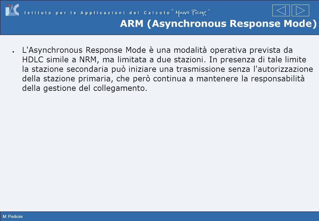M. Pedicini ARM (Asynchronous Response Mode) L'Asynchronous Response Mode è una modalità operativa prevista da HDLC simile a NRM, ma limitata a due st
