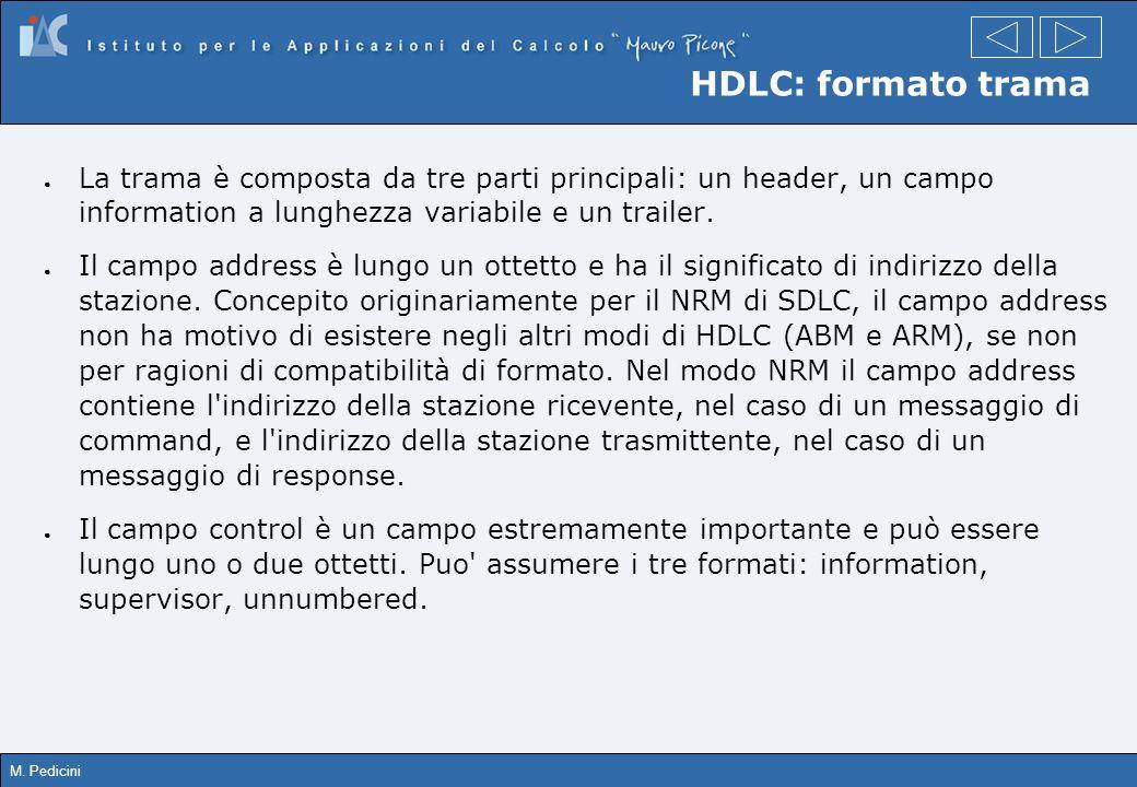 M. Pedicini HDLC: formato trama La trama è composta da tre parti principali: un header, un campo information a lunghezza variabile e un trailer. Il ca