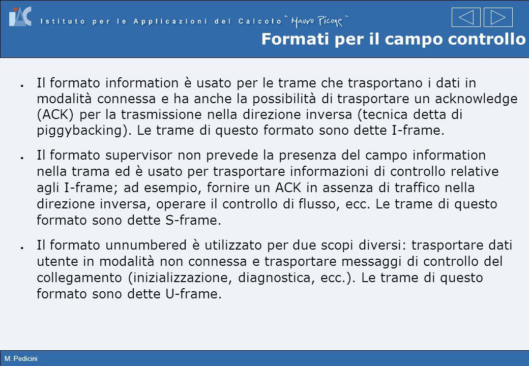M. Pedicini Formati per il campo controllo Il formato information è usato per le trame che trasportano i dati in modalità connessa e ha anche la possi