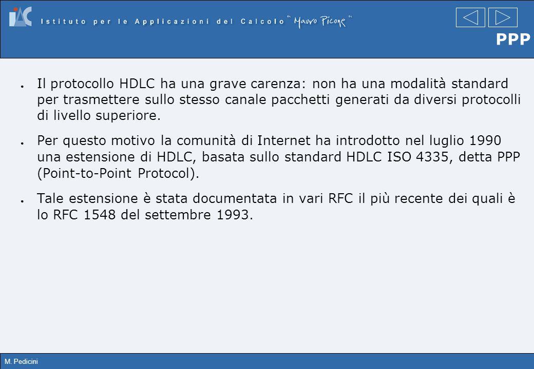 M. Pedicini PPP Il protocollo HDLC ha una grave carenza: non ha una modalità standard per trasmettere sullo stesso canale pacchetti generati da divers