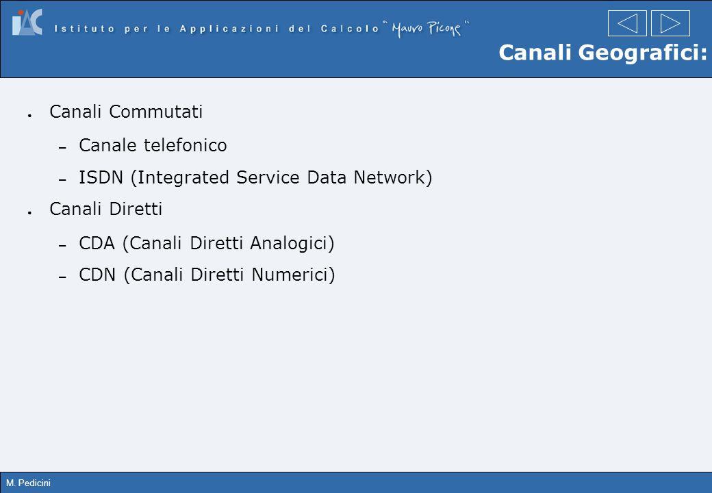 M. Pedicini Canali Geografici: Canali Commutati – Canale telefonico – ISDN (Integrated Service Data Network) Canali Diretti – CDA (Canali Diretti Anal