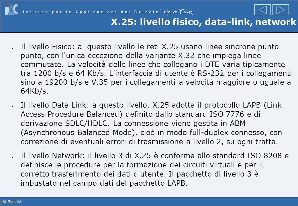 M. Pedicini X.25: livello fisico, data-link, network Il livello Fisico: a questo livello le reti X.25 usano linee sincrone punto- punto, con l'unica e