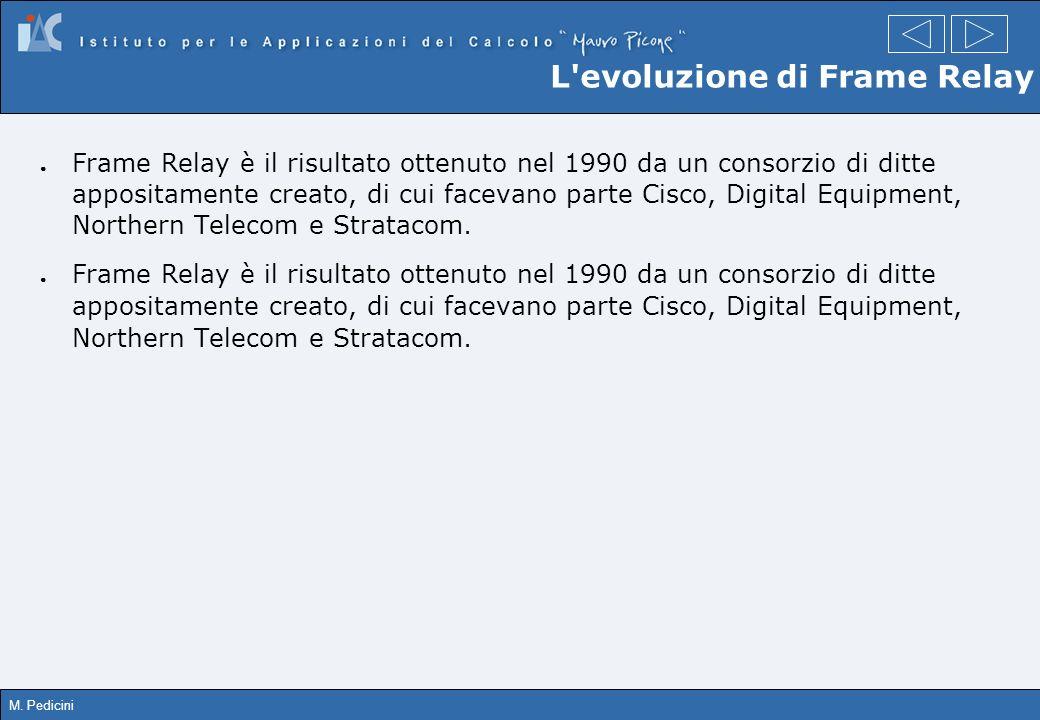 M. Pedicini L'evoluzione di Frame Relay Frame Relay è il risultato ottenuto nel 1990 da un consorzio di ditte appositamente creato, di cui facevano pa