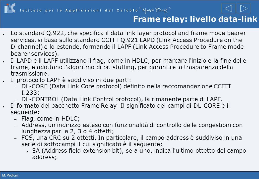 M. Pedicini Frame relay: livello data-link Lo standard Q.922, che specifica il data link layer protocol and frame mode bearer services, si basa sullo