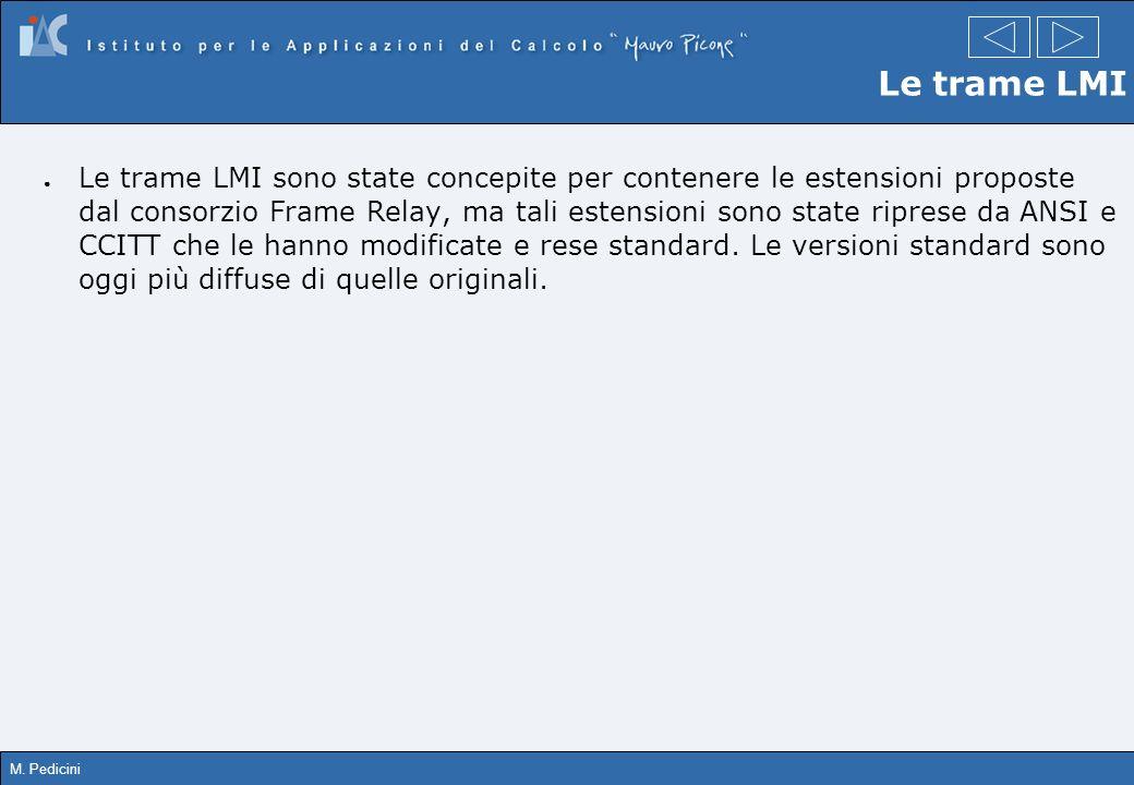 M. Pedicini Le trame LMI Le trame LMI sono state concepite per contenere le estensioni proposte dal consorzio Frame Relay, ma tali estensioni sono sta