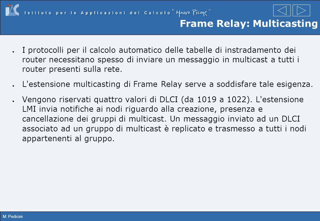 M. Pedicini Frame Relay: Multicasting I protocolli per il calcolo automatico delle tabelle di instradamento dei router necessitano spesso di inviare u