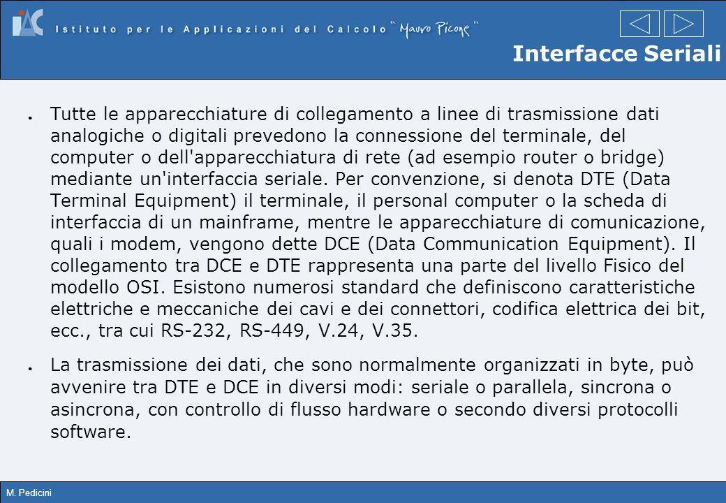 M. Pedicini Interfacce Seriali Tutte le apparecchiature di collegamento a linee di trasmissione dati analogiche o digitali prevedono la connessione de
