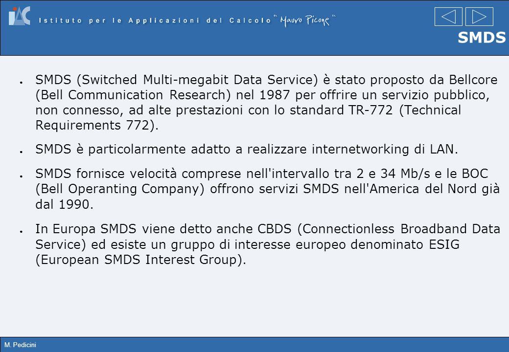 M. Pedicini SMDS SMDS (Switched Multi-megabit Data Service) è stato proposto da Bellcore (Bell Communication Research) nel 1987 per offrire un servizi