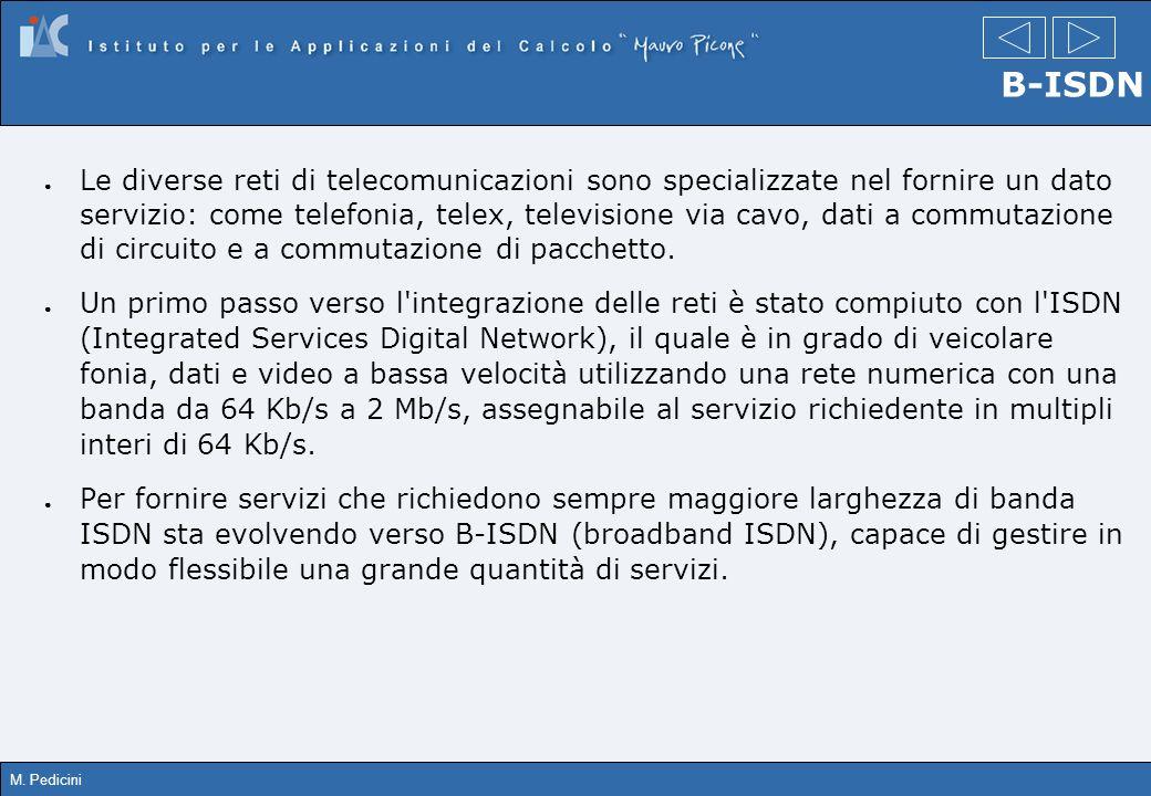 M. Pedicini B-ISDN Le diverse reti di telecomunicazioni sono specializzate nel fornire un dato servizio: come telefonia, telex, televisione via cavo,