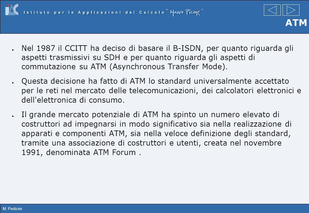 M. Pedicini ATM Nel 1987 il CCITT ha deciso di basare il B-ISDN, per quanto riguarda gli aspetti trasmissivi su SDH e per quanto riguarda gli aspetti