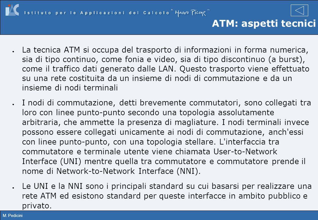 M. Pedicini ATM: aspetti tecnici La tecnica ATM si occupa del trasporto di informazioni in forma numerica, sia di tipo continuo, come fonia e video, s