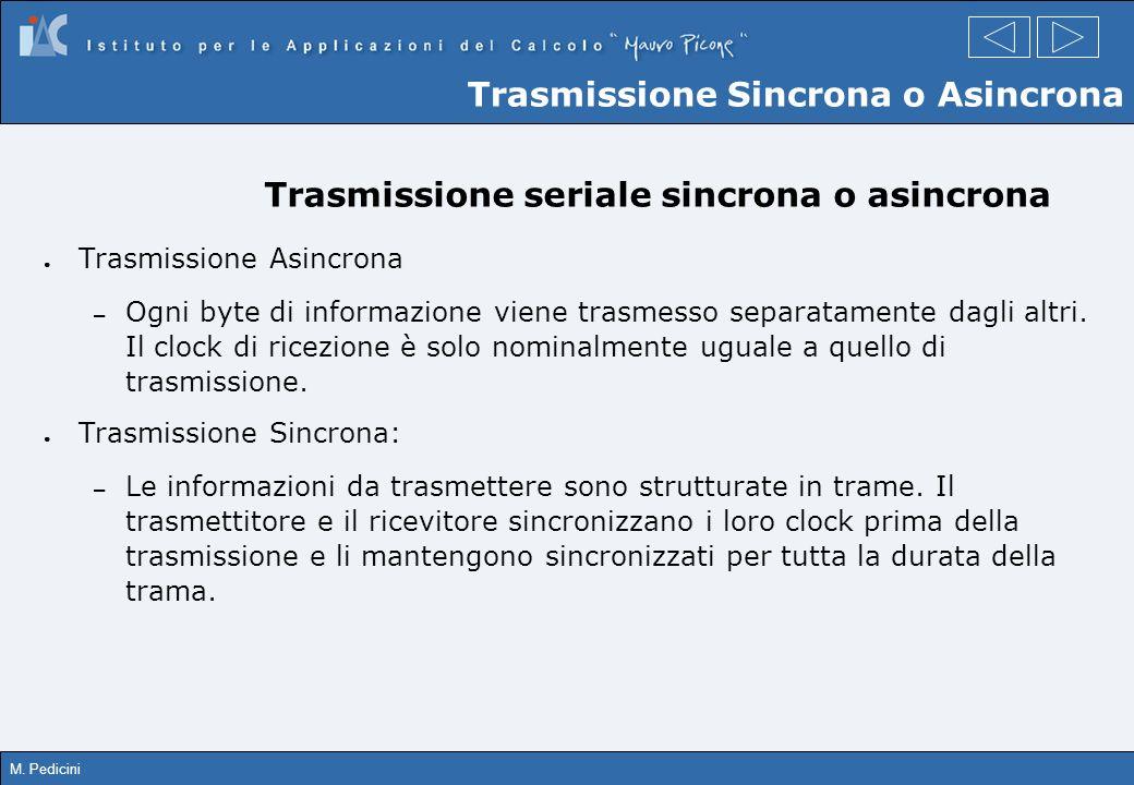 M. Pedicini Trasmissione seriale sincrona o asincrona Trasmissione Asincrona – Ogni byte di informazione viene trasmesso separatamente dagli altri. Il